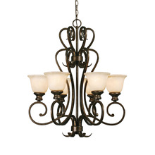 Golden Canada 8063-6 BUS - Heartwood 6 Light Chandelier in Burnt Sienna with Tea Stone Glass