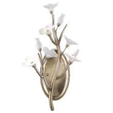 Golden Canada 9942-WSC SL - Aiyana 3 Light Wall Sconce in Silver Leaf with Porcelain Flowers