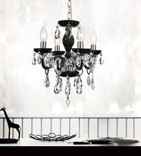 Crystal World 8272P14C-4 (Black) - 4 Light Chrome Up Chandelier from our Princeton collection