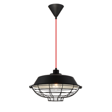 Eurofase Online 30012-035 - London Metal Cage Diffuser Light Pendant, Black Finish, Fabric Power Cord, 1 A19 Light Bulb, 14 Inch