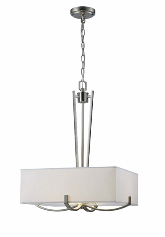 Palmer, ICH422A03BN18, 3 Lt Chandelier, White Fabric Shade with Glass Diffuser, 100W Type A, 18""