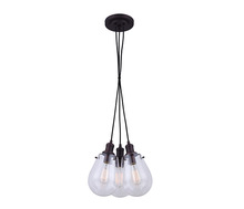 "Canarm ICH344B03ORB - Gallagher, ICH344B03ORB, 3 Lt Cord Chandelier, Clear Glass, 60W Type A, 14""x 61 1/2"""