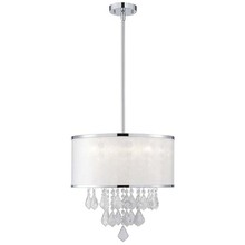 "Canarm ICH435A04CH9 - Reese, ICH435A04CH9, 4 Lt Rod Chandelier, Sparkle Film Shade with Crystals,40W G9, 15 3/4"" W  x"