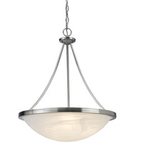 "Canarm ICHAN4118BN - Alabaster, ICHAN4118BN, 3 Light 18.5"" Chandelier, Alabaster Glass, 100W Type A or B"