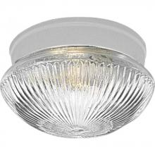 Progress P3405-30 - One Light Clear Prismatic Glass White Mushroom Flush Mount