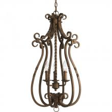 Progress P3840-102 - Three Light Roasted Java Matching Hand Painted Candle Sleeves Glass Open Frame Foyer Hall Fixture