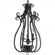 Progress P3840-80 - Three Light Forged Black Matching Hand Painted Candle Sleeves Glass Open Frame Foyer Hall Fixture