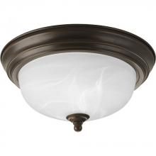 Progress P3924-20 - One Light Antique Bronze Alabaster Glass Bowl Flush Mount