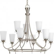 Progress P4039-09 - Nine Light Brushed Nickel Etched/painted White Inside Glass Up Chandelier