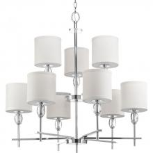 Progress P4142-15 - 9-Lt., 2-Tier Chandeler w/K9 Glass Accent with Fabric Shade