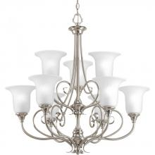 Progress P4288-09 - Nine Light Brushed Nickel Swirled Etched Glass Up Chandelier