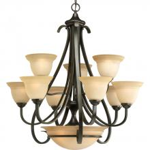 Progress P4418-77 - Nine Light Forged Bronze Tea-stained Glass Up Chandelier
