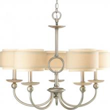 Progress P4462-134 - Five Light Silver Ridge Toasted Glass Drum Shade Chandelier