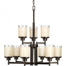Progress P4626-20 - Nine-light, two-tier chandelier  with etched umber linen glass shades
