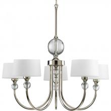 Progress P4674-104 - Five Light Opal Etched Glass Polished Nickel Drum Shade Chandelier