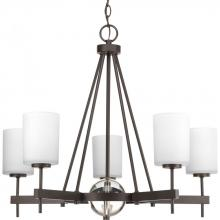 Progress P4706-20 - Five Light Antique Bronze Etched/painted White Inside Glass Up Chandelier