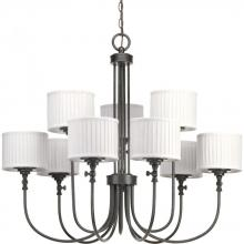 Progress P4712-84 - Nine-light, two-tier Chandelier with cream pleated linen shades