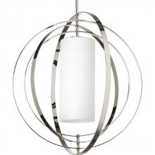 Progress P7086-104 - Two Light Polished Nickel Etched Opal Glass Foyer Hall Pendant
