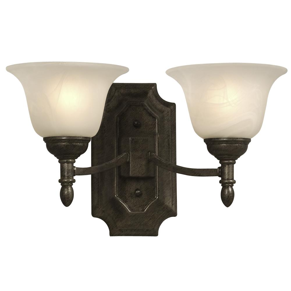Two Light Wall Bracket - Medieval Bronze w/ Marbled Glass