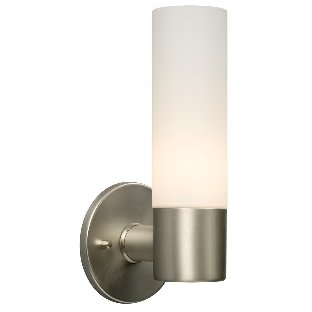 Richardson Lighting in Saskatchewan, Canada,  6UH8M, 1-Light Wall Sconce - Brushed Nickel with White Straight Glass, Hadley