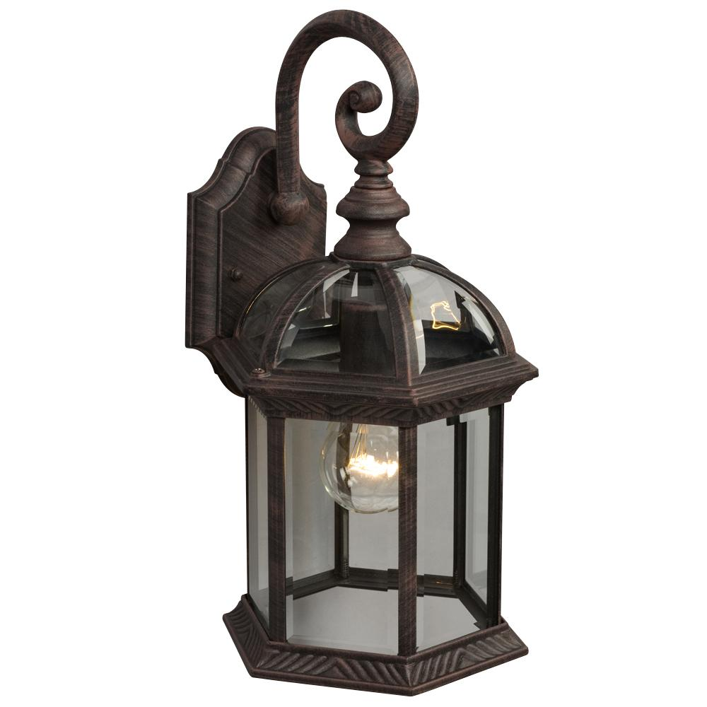 Outdoor Cast Aluminum Lantern - Antique Rust w/ Clear Beveled Glass