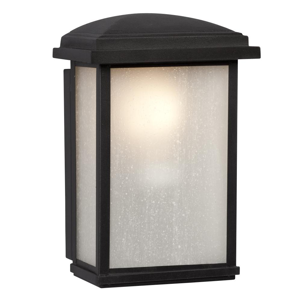 Richardson Lighting in Saskatchewan, Canada,  70DRQ, 1-Light Outdoor Wall Mount Lantern - Black with Frosted Seeded Glass,