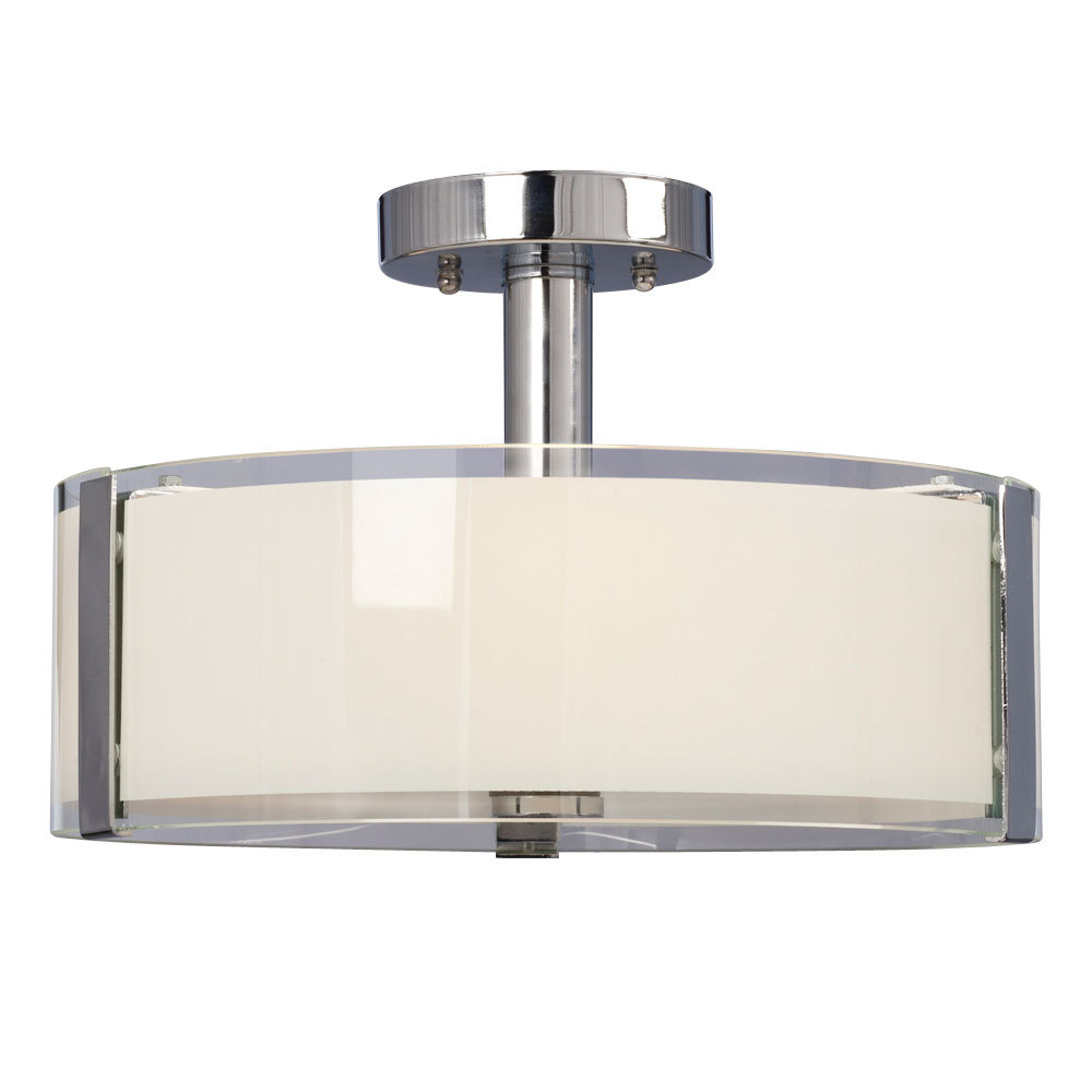 3 Light Semi Flush Mount Chrome With White Opal Clear Glass