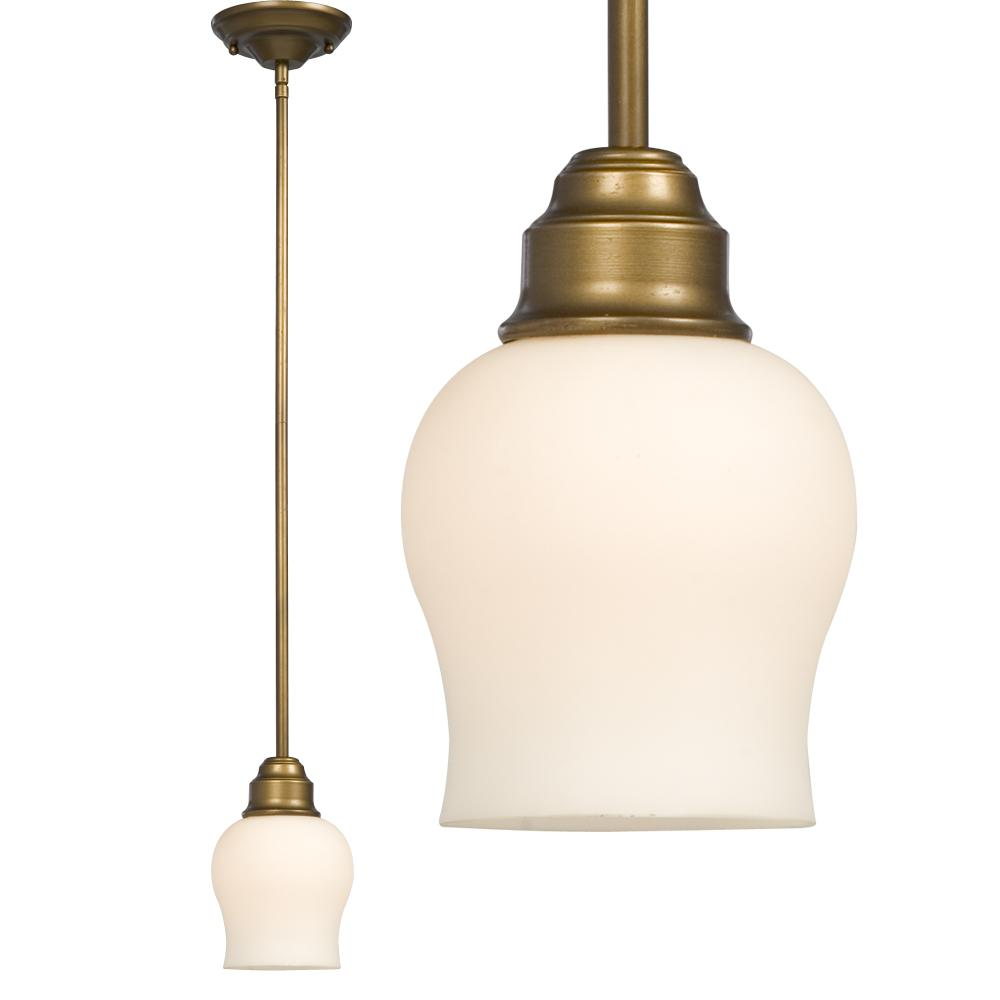 "Mini Pendant w/6"",12"",18"" Extension Rods - Parisian Antique Brass with Satin White Glass"