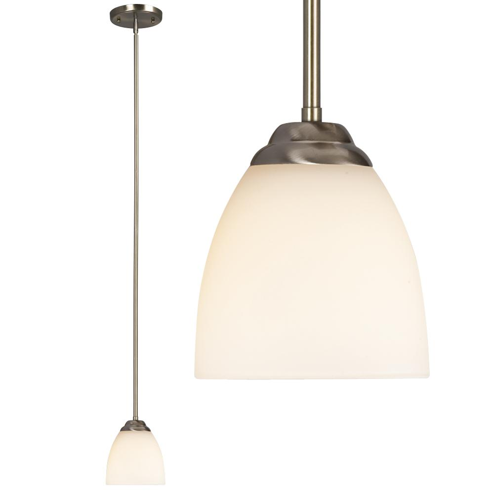 "Mini-Pendant  w/6"",12"",18"" Extension Rods - Brushed Nickel with Satin White Glass"