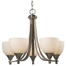 Galaxy Lighting 800905BN - Five Light Chandelier - Brushed Nickel w/ White Glass