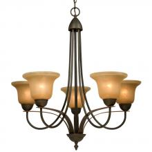 Galaxy Lighting 806205DBC - Five Light Chandelier - Dark Brown Copper w/ Tea Stain Glass (Inside Glaze)