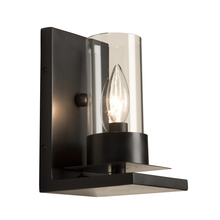 Steven & Chris SC651BK - One Light Matte Black Clear Candle Glass Wall Light