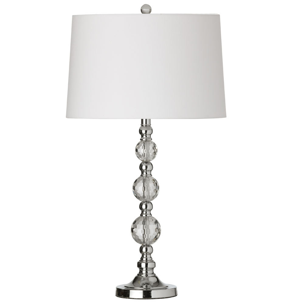 Richardson Lighting in Saskatchewan, Canada,  7Z8DN, 1LT Table Lamp Cut Crystal Ball w/wht Shd,