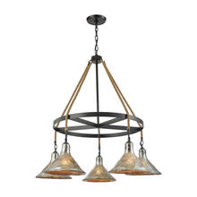 ELK Lighting 10436/5CH - Hand Formed Glass 5 Light Chandelier In Oil Rubb