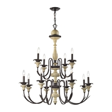 ELK Lighting 32221/8+4 - Channery Point 12 Light Chandelier In Aged Cream