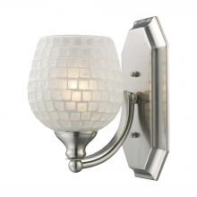 ELK Lighting 570-1N-WHT - Bath And Spa 1 Light Vanity In Satin Nickel And