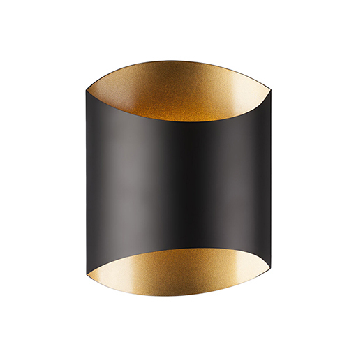 Led wall sconce flat black with fine gold interior 6xdyy