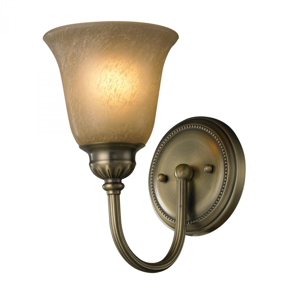 One light antique brass bathroom sconce