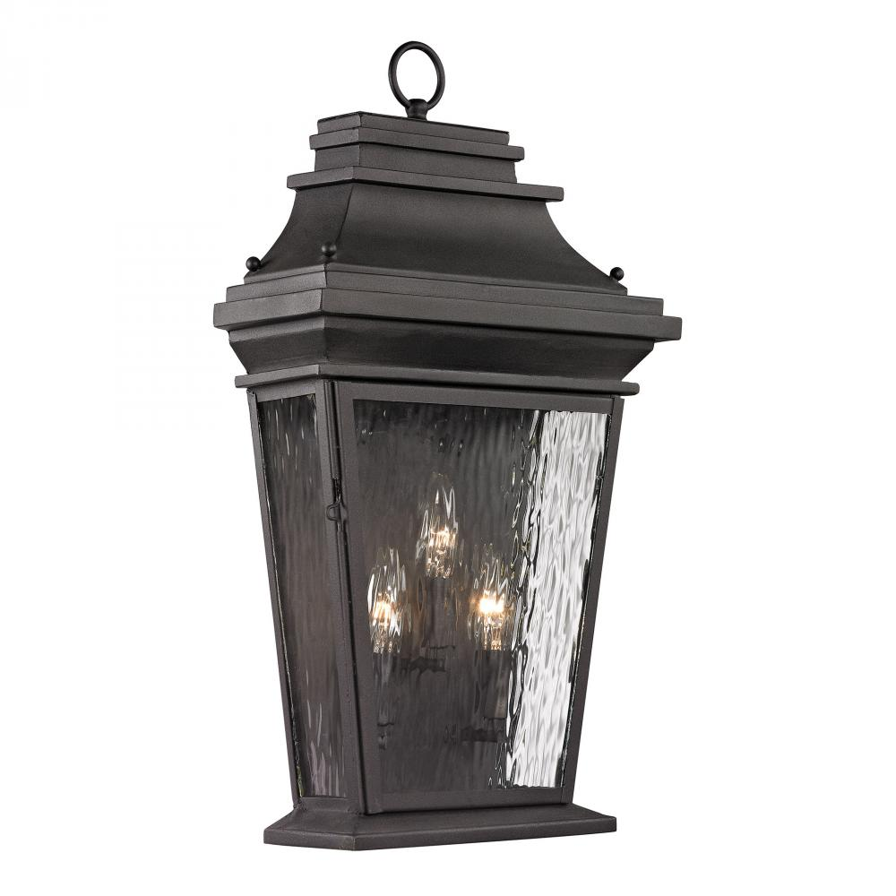 Forged Provincial 3 Light Outdoor Wall Lamp In Charcoal